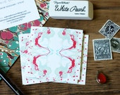 Calling Cards / Business Cards/ Blogger Cards Tiled Marble Coral and Sage  - Set (50) / Watercolor / Painted / Brushstroke