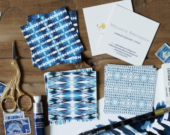 Square Calling Cards / Business Cards / Blogger Cards / Shibori - Set (50) / Watercolor / Painted / Brushstroke