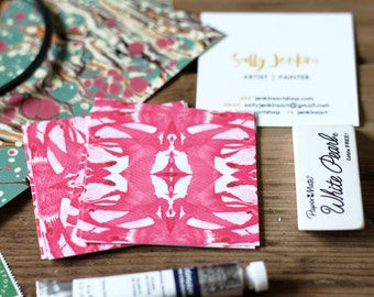Business Cards / Blogger Cards / Calling Cards Tiled Marble Coral Red - Set (50) / Watercolor / Painted / Brushstroke