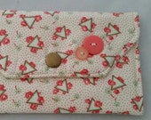 Vintage floral geometric triangle shape Fabric Wallet Snap Case 1/2 OFF SALE