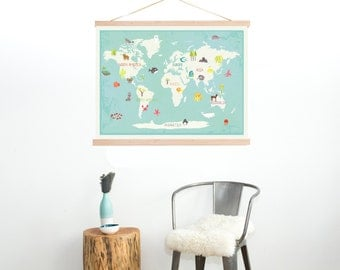 Our Earth Interactive World Map Wall Art With Stickers + DIY Frame Kit, 36x24, Kid's Animal World Map, Gender Neutra