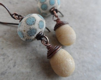 Seeing Spots ... Artisan-Made Textured Lampwork and Copper Dangle Boho, Rustic, Beachy Earrings