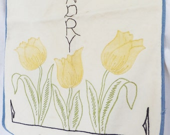 Vintage 1930's Embroidered Laundry Bag Small Lingerie Bag Floral Embroidery Yellow Tulips White Cottage Chic Laundry Bag