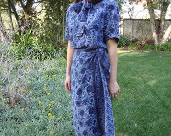 Vintage Batik Print Silk Matching Blouse & Skirt Set M