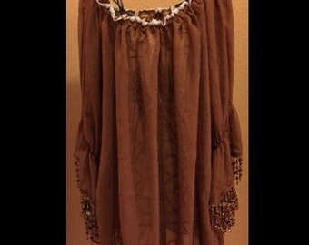 Brown Crinkle Chiffon Chemise One Size shirt boho festival wear gypsy Renaissance Festival costume piece  Ren Fest costume beaded cosplay