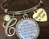 Daughter in law BANGLE bracelet, future daughter in law, bride heart, giving away my son is not an easy thing to do, INITIAL jewelry, pearl