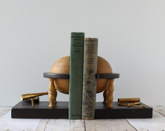 Vintage Wood Globe Bookends / Globe on a Stand with Brass Telescope Map Compass / Masculine Nautical Office Decor / Made in Italy