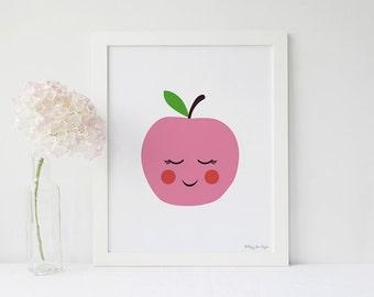 Apple Art Print, Healthy Art, Fruit Art Print, Fruit Wall Decor, Nursery Wall Art, Kitchen Wall Art, Apple Print