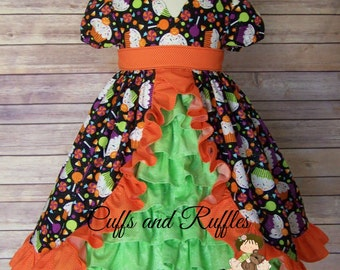 Emily Halloween Dress with ruffled panel