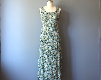 vintage dress / 90's floral maxi dress / empire waist dress