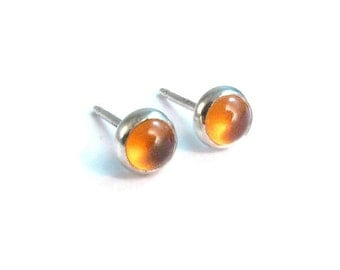 Hessonite Garnet Stud Earrings - Tiny Dainty Yellow Stud Earrings - Bezel Set in Sterling Silver - 4mm Size - Honey Yellow Post Earrings
