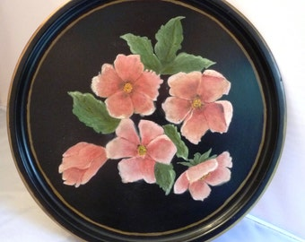 Handpainted Floral Tray -Black Metal- Pink Wild Rose Flowers -Round- Hand Painted Gold Trim -Decorative Serving Piece- Home Wall Decor 1930s