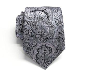 Mens Ties Necktie Grey and Pink Paisley Mens Ties