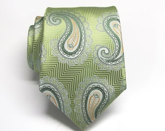 Mens Ties. Green Orange Paisley Necktie With Matching Pocket Square Option