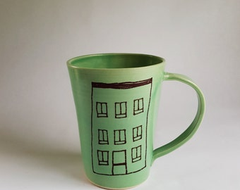 Porcelain Coffee Mug with an Apartment Building Illustration, Made to Order, Handmade Coffee Cup, Porcelain Mug, Apartment Building Mug