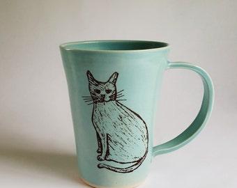 Handmade Porcelain Mug, Made to Order, Cat Mug, Cat Lover Mug, Crazy Cat Lady Mug, Cat Illustration, Cat Coffee Cup, Handmade Coffee Cup