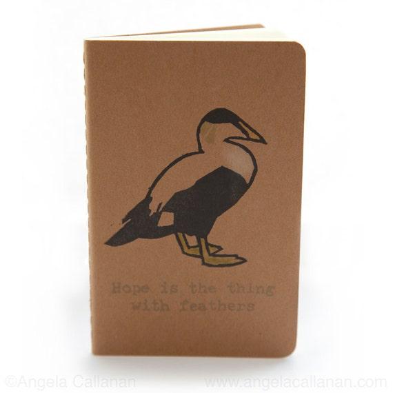 Eider Duck, Hand Printed with Rubber Stamp, Moleskine Journal, Notebook