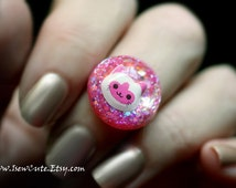 Resin Jewelry, Kawaii Cat Ring, Pink Kitten Ring for Girls & Crazy Cat Lovers Like Me, This Kitty Needs a Home, Cute Ring by isewcute