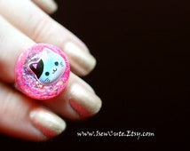 Resin Jewelry, Kawaii Cat Ring, Blue Kitten Ring for Girls, Pink Glitter Resin Ring, This Kitty Needs a Home, Cute Ring by isewcute
