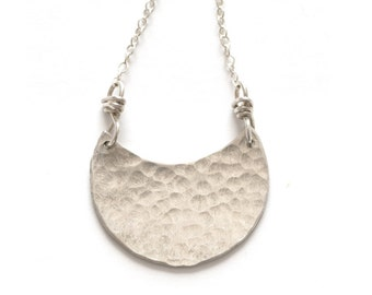 Sterling Silver Jewelry, Half Moon Hammered Charm Necklace