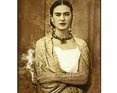 Frida Kahlo Instant Digital Download Poster Print Nature Quote Photomontage Cigarette Smoking Art Surreal Surrealist Sepia Black Tattoo
