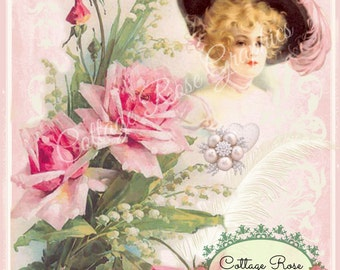 Pink Romance Victorian Lady Large digital download ECS buy 3 get one free Pink ROSES single printable image
