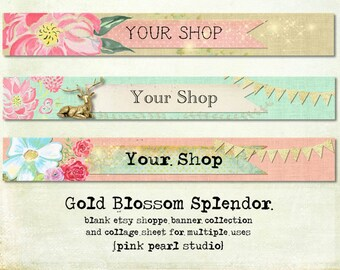 Blank Gold Blossom Splendor Shop Banner Set - deer, gold glitter, floral - Includes .png and .jpg sheet for bookmarks, tags, collage sheet
