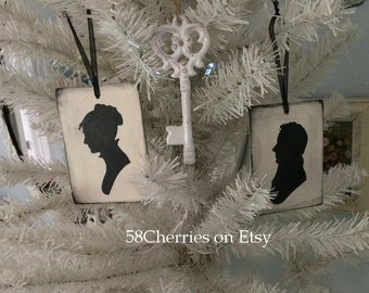 Jane Austen Inspired Silhouette Ornaments - Lady and Gentleman - Darcy and Elizabet Bennet - Shabby Chic Valentine Decor - Wood