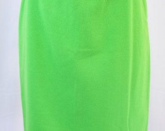 vintage | chartreuse green high waist wool pencil skirt