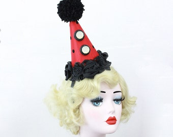 Red Clown Hat, Circus Costume, Carnival Costume, Clown Costume, Clown Hat, Circus Hat, Burlesque Costume, Birthday Hat, Glam Clown