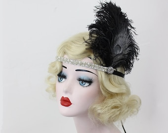 Black and Silver Headband, Great Gatsby, Flapper Headband, Peacock Feather Fascinator, Hair Accessory, Halloween Costume Headpiece