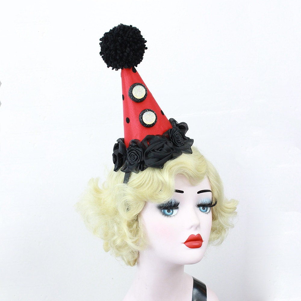 Red Clown Hat, Circus Costume, Carnival Costume, Clown Costume, Clown Hat,