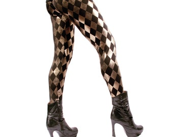 Leggings, SMALL, LAST PAIR,  Pants, Black, Harlequin, Gold, Stretch, Rock Star, Dance, Metal, Goth, Punk, Glam, Dark Fusion Boutique
