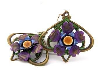 Hand painted brass filigree flower and ceramic dangle earrings, colorful bohemian boho lightweight earrings, Artisan jewelry by j.wray