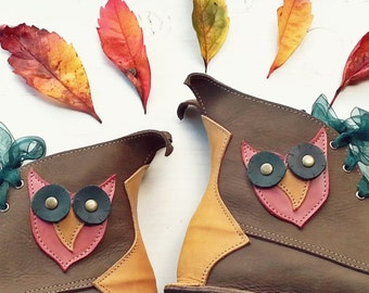 UK 6, Woodland fairy tale leather boots, MUSTARDSEED Hoots 2963