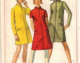 Vintage 60's Madmen Mod A-line Dress Sewing Pattern Size 7 Jr Petite Stand Up Collar Concealed Zipper Set-in Sleeves Welts Simplicity 7201