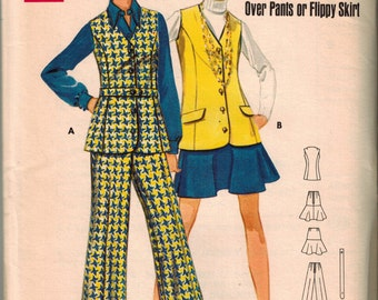 Madmen 60's Mod Skirt Pants Vest Sewing Pattern Butterick 5391 Bust 31.5 Size 8 Cuffed Wide Leg Pants Semi Fitted V-neck Vest Flared Skirt