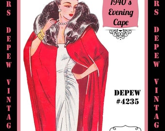 Vintage Sewing Pattern 1940's Evening Cape Wrap in Any Size Depew 4235 - PLUS Size Included -INSTANT DOWNLOAD-