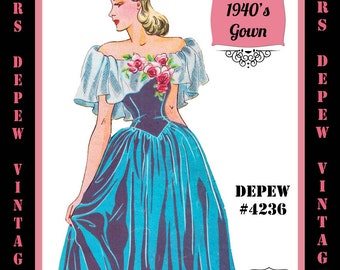 Vintage Sewing Pattern 1940's Princess Evening or Wedding Gown with Ruffles in Any Size Depew 4235A - PLUS Size Included -INSTANT DOWNLOAD-