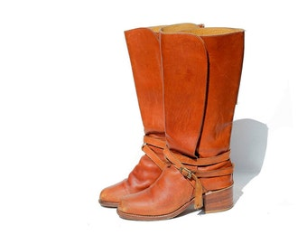 Vintage Brown Leather Ankle Strap Boots / size 6