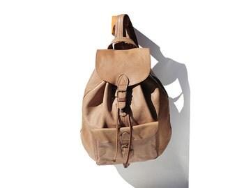 Vintage Tan Leather Backpack / Leather Bag