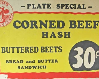 Vintage 1940s Original Advertising Poster, Hood's Creamery Lunch Plate Special, Corned Beef Hash 30 Cts, Diner, Restaurant, Kitchen Decor
