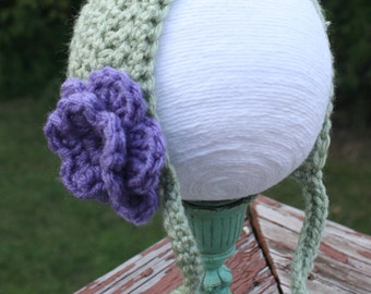 Crochet Newborn Light Green Bonnet with Lilac Purple Flower