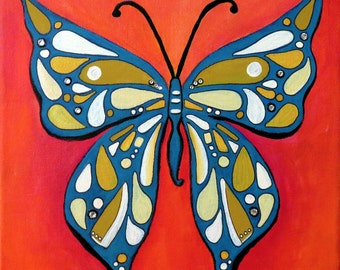 Groovy Butterfly Acrylic Painting with Swarovski Crystals 10 x 10 Ready to Hang