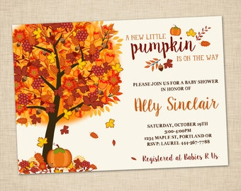 Little Pumpkin Baby Shower Invitation - Fall Baby Shower Invite - Fall Leaves - Fall Tree - Thanksgiving Invitation - Printable Invitation