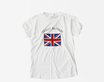 SALE - 1980's Great Britain White T Shirt