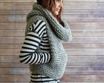 The Mavis + Chunky Knit Hooded Cowl Vest + Made to Order