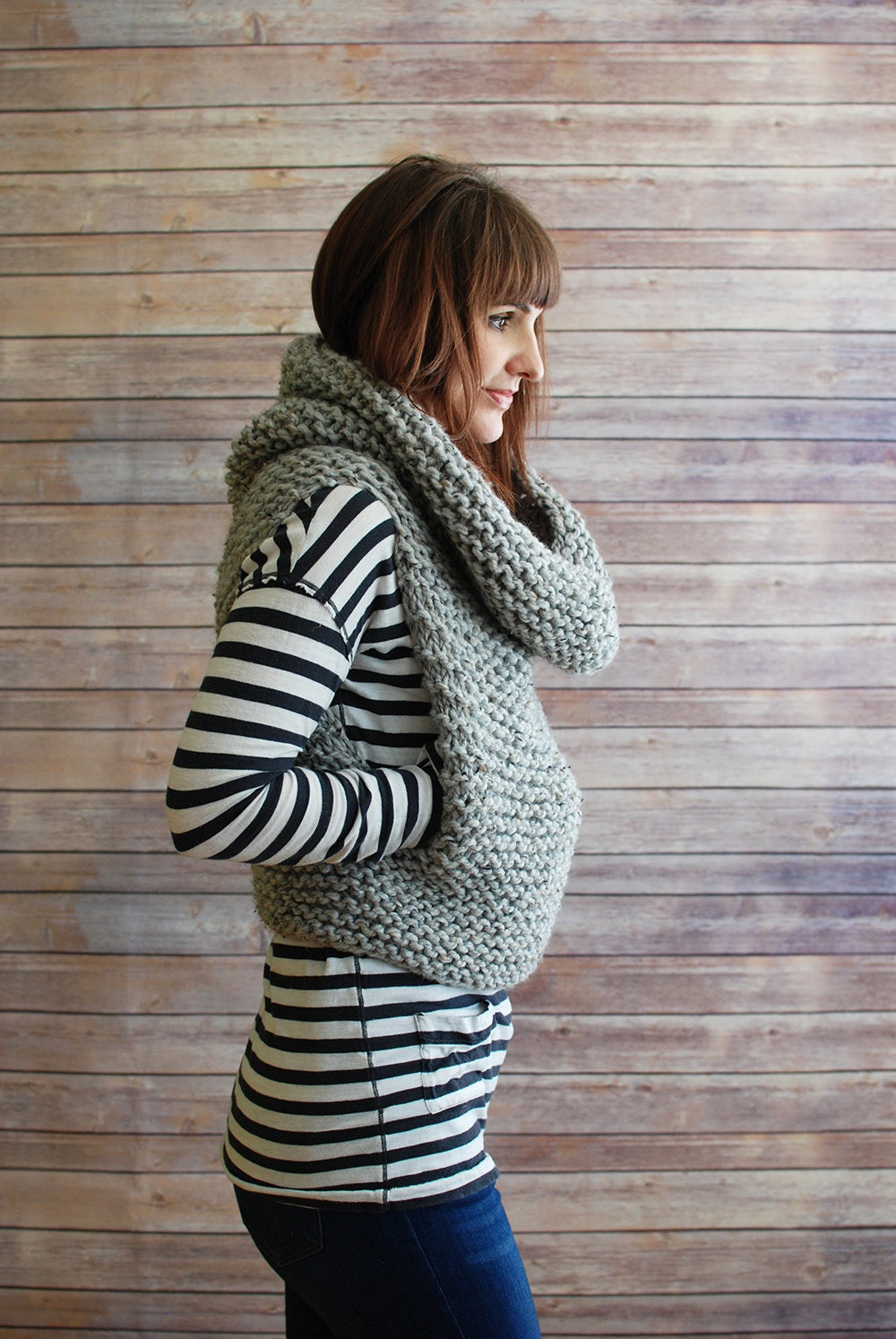 The Mavis Chunky Knit Hooded Cowl Vest Made to Order
