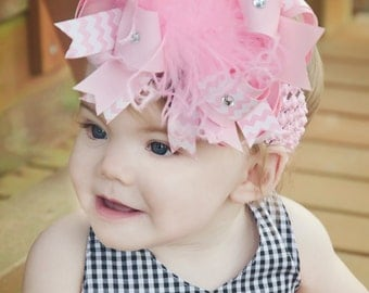 Huge Pink and White Chevron Over the Top Hair Bow,Pink Bow Headband,Big Pink Hair Bow,Pink Bow Headband,Big Pink Headband,Pink Baby Girl Bow