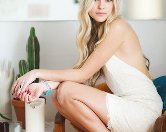 Fleur lace halter mini dress party dress, wedding reception dress, ivory lace prom dress, backless mini dress, halter dress